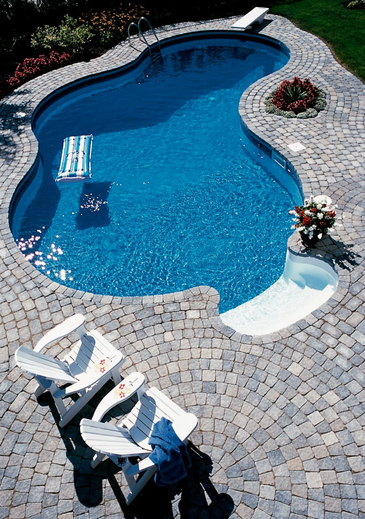 swimming pool paving stone deck