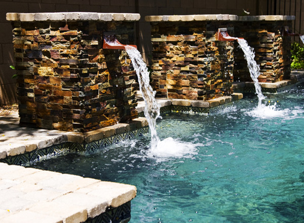 swimming pool custom water flow spout stream