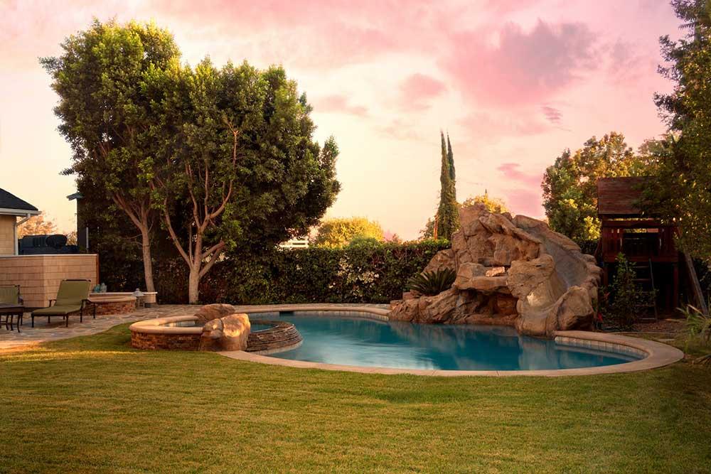 Freeform Pool and Sunset